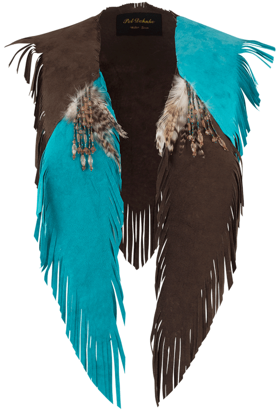 Pat Dahnke Kickapoo Collar with Beaded Fringe - Brown/Turquoise - Front