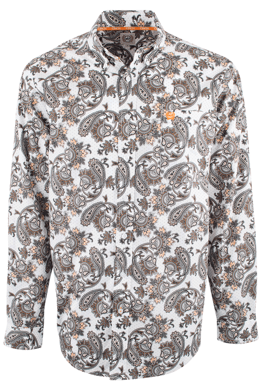Cinch Gray and Orange Exploded Paisley Shirt - Front