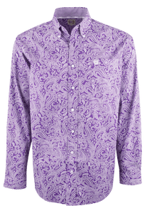 Cinch Purple Paisley Print Shirt - Front