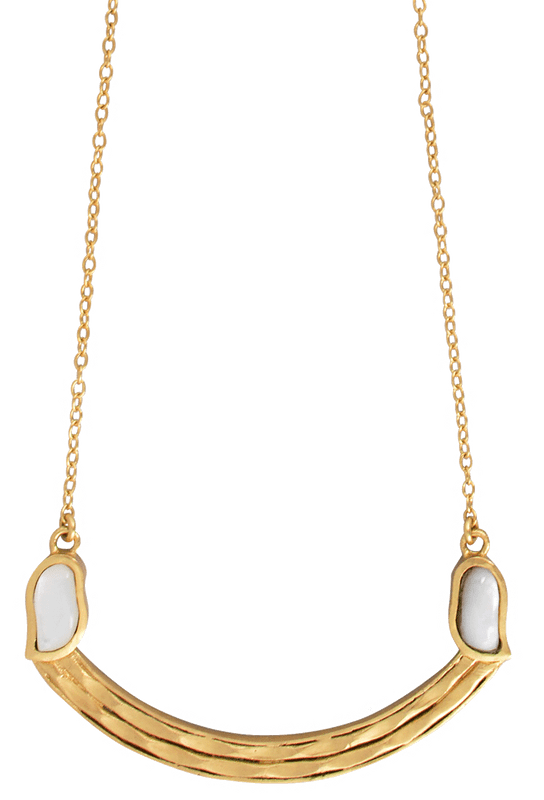 Christina Greene Mother of Pearl Curved Bar Necklace - Front
