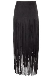 Joh Faux Suede Skirt with Long Fringe - Black - Front