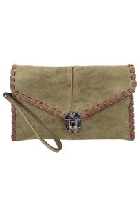 Sydney Love Laced Clutch - Olive - Front