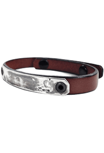 Kenton Michael Sterling Armor Plates with Leather Strap Bracelet - Brown