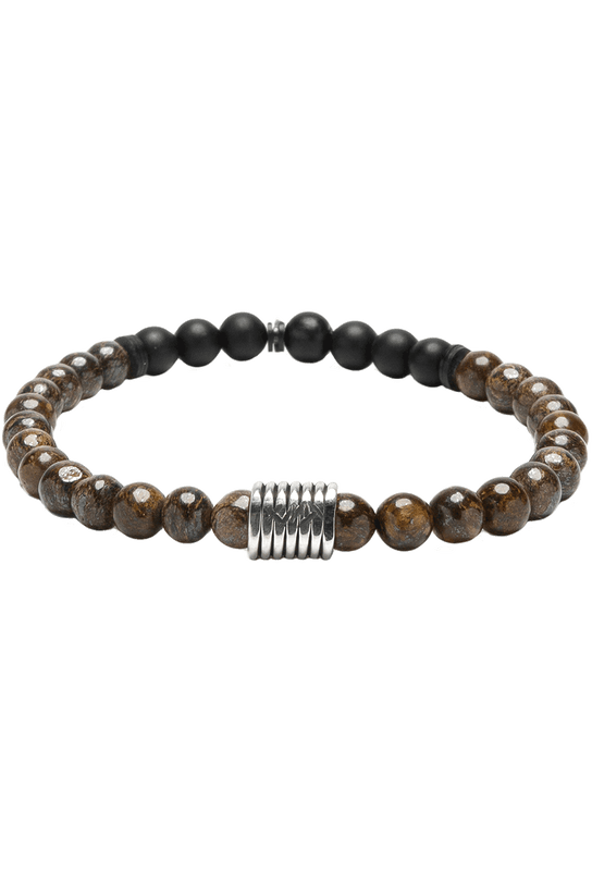 Kenton Michael Stone and Sterling Coil Bracelet - Bronzite