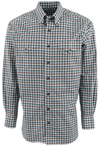 Lyle Lovett for Hamilton Green with Blue and Brown Poplin Check Shirt - Front