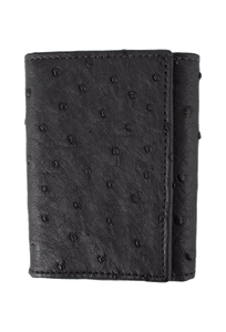 Ostrich Trifold Wallet - Black - Front