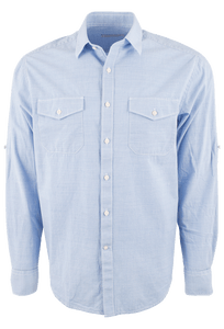 James Campbell Salvage Solid Shirt - Sky - Front
