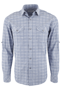 James Campbell Serif Plaid Shirt - Denim - Front