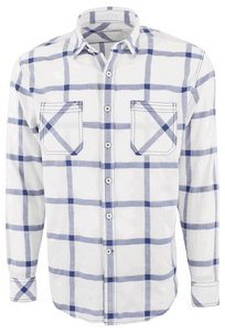 James Campbell Miles Plaid Shirt - Navy - Front