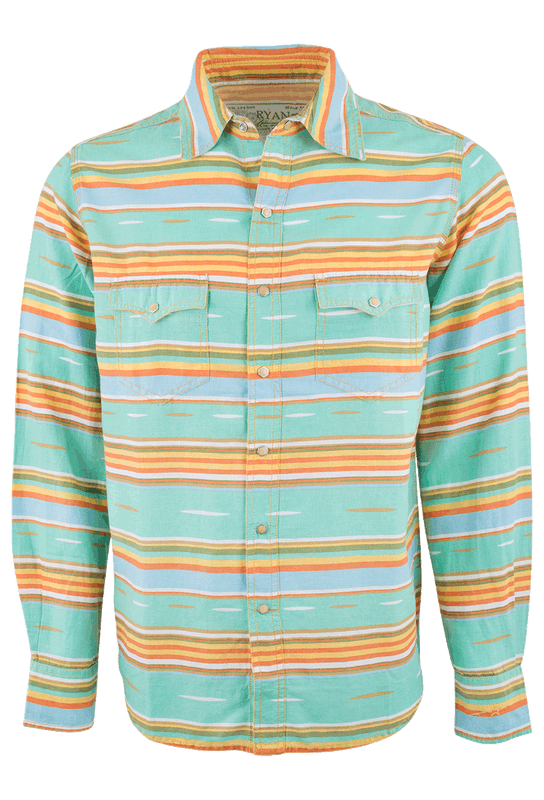 Ryan Michael Serape Stripe Snap Shirt - Seafoam - Front