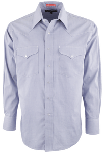 Pinto Ranch Blue Houndstooth Western Snap Shirt - Front