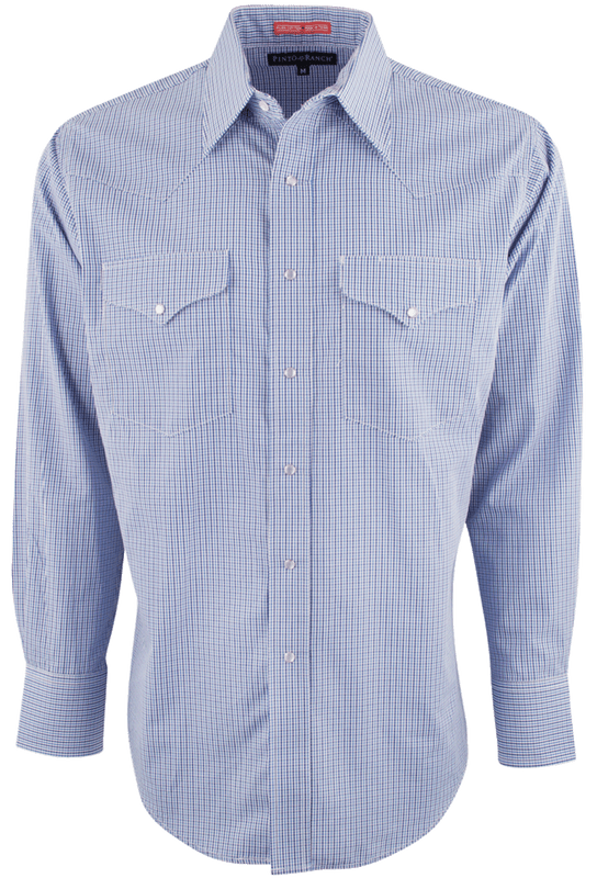 Pinto Ranch Blue Plaid Western Snap Shirt - Front