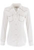 Ryan Michael Silk Whipstitch Western Shirt - White - Front
