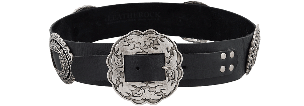 Old Silver Concho Belt - Black- Front