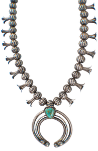 Turquoise Moon Squash Blossom Necklace