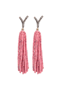 Tuya Jewelry Pink Shell Tassel Earrings - Front