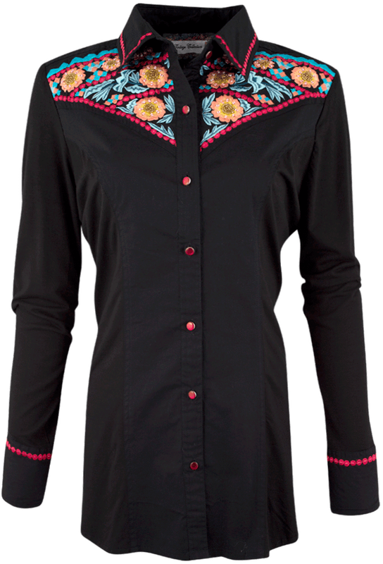 Vintage Collection - Cornflower Embroidered Western Shirt - Front