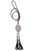 Silver King Oval Filigree Bolo Tie - Front