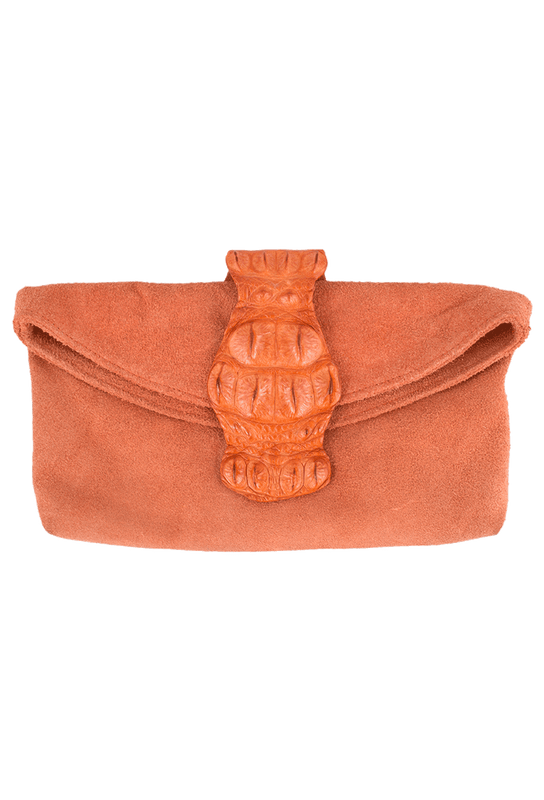 Kulu Sandra Orange Suede Croc Clutch - Front