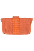 Kulu Sandra Orange Suede Croc Clutch - Back