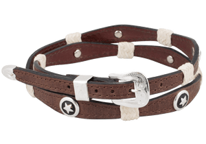 Scalloped Leather Hat Band with Star Conchos - Brown - Hat Band