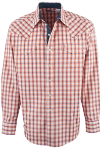 Stetson Orange Spectral Check Snap Shirt - Front