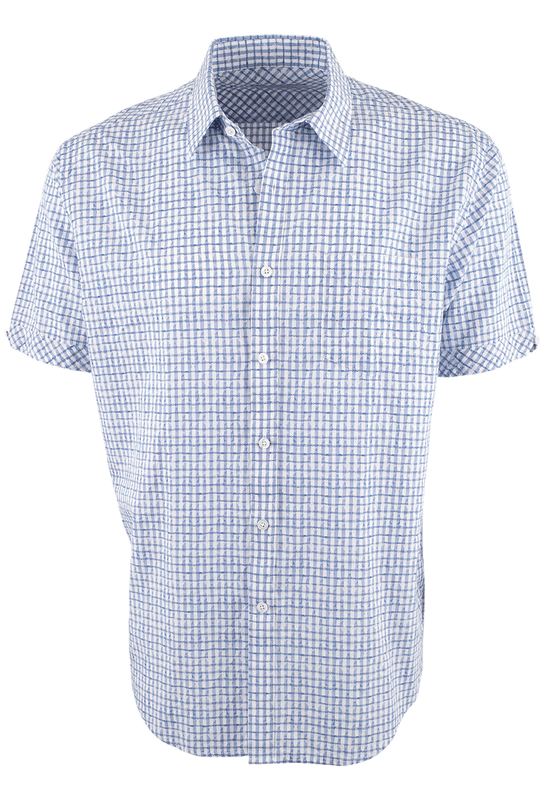 James Campbell Short Sleeve Blue Glencoe Check Shirt - Front