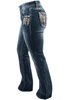 Grace in L.A. Junior Feather Pocket Bootcut Jeans - Side
