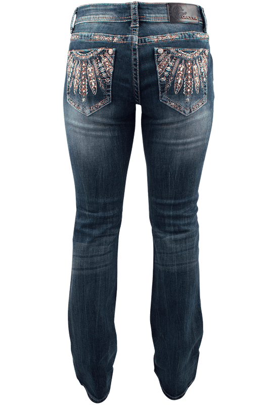 Grace in L.A. Junior Feather Pocket Bootcut Jeans - Back