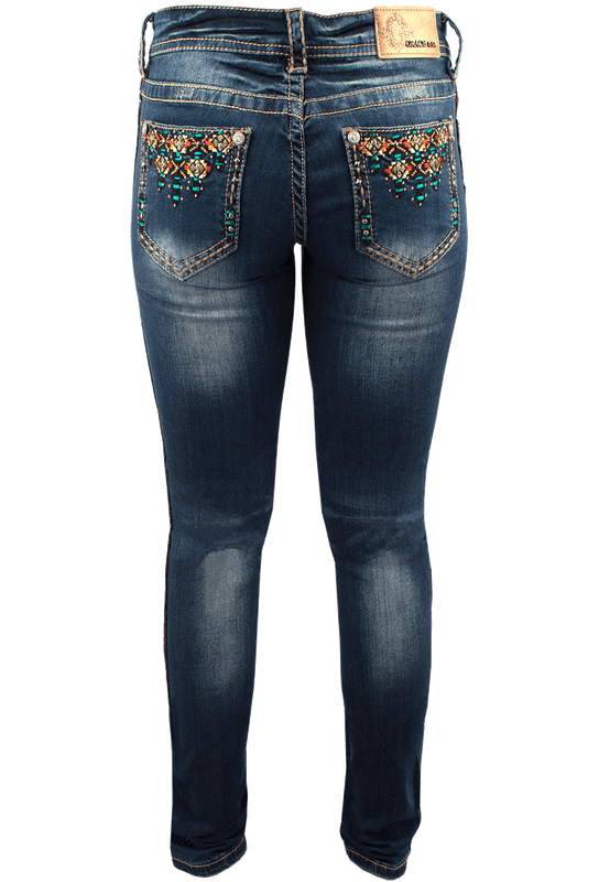 Grace in L.A. Junior Side Trim Straight Leg Jeans - Back