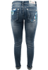 Grace in L.A. Junior Embroidered Flower Straight Leg Jeans - Back