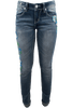 Grace in L.A. Junior Embroidered Flower Straight Leg Jeans - Front