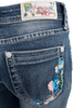 Grace in L.A. Junior Embroidered Flower Straight Leg Jeans - Back Pocket