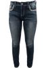 Grace in L.A. Easy Fit Feather Pocket Skinny Jeans - Front