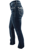 Grace in L.A. Easy Fit Blue Stitch Pocket Bootcut Jeans - Side