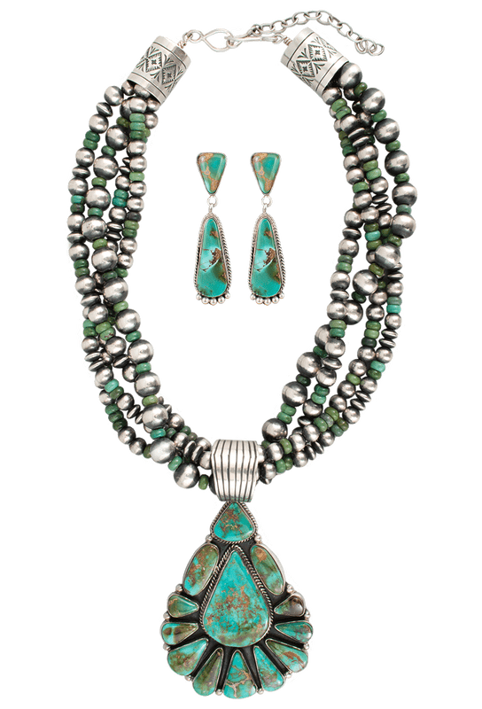 Turquoise Moon Pilot Mountain Turquoise Necklace and Earring Set - Set