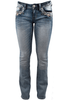 Grace in L.A. Junior Flower Pocket Bootcut Jeans - Front