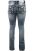 Grace in L.A. Junior Flower Pocket Bootcut Jeans - Back