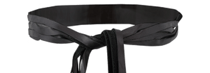 Leila Fringe Wrap Belt - Black Front