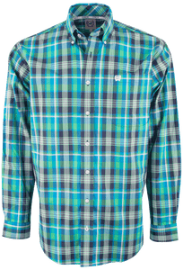 Cinch Blue and Green Bold Plaid Plain Weave Shirt - Front