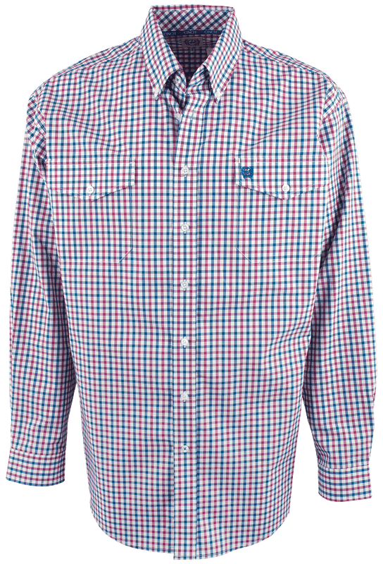 Cinch Pink and Blue Plaid Shirt - Front