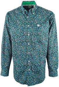 Cinch Navy Paisley Print Plain Weave Shirt - Front