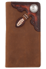 Tooled Buckaroo Checkbook Wallet - Brown - Front