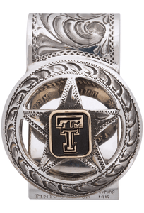Texas Tech University Silver and Gold Engraved Cinco Peso Money Clip - Front