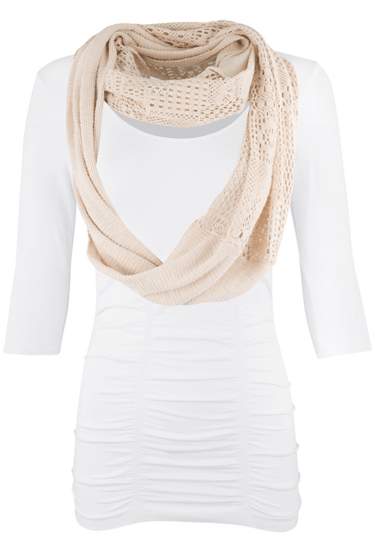 Dylan Waffle Crochet Infinity Scarf - Front