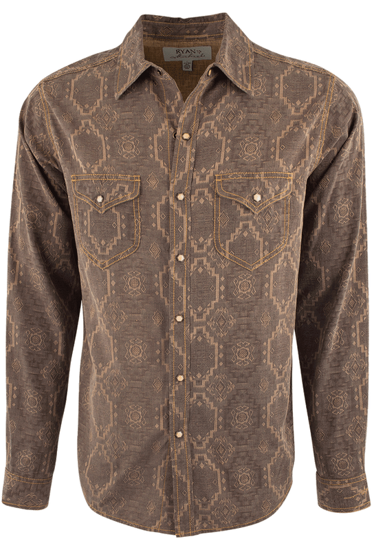 Ryan Michael Aztec Silk Jacquard Snap Shirt - Chestnut - Front