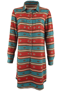 Ryan Michael Serape Stripe Dress - Cyan - Front - Sleeves Down