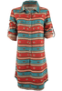 Ryan Michael Serape Stripe Dress - Cyan - Front - Sleeves Up