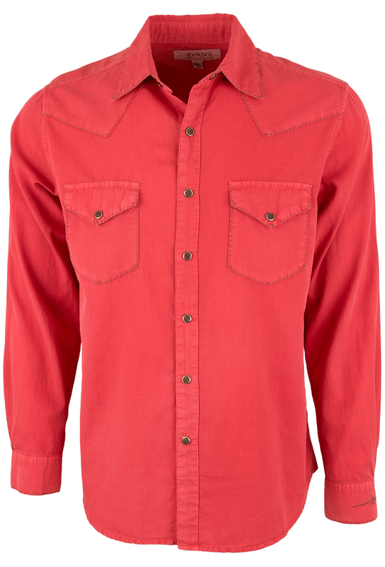 Ryan Michael Textured Stripe Silk Snap Shirt - Tomato - Front
