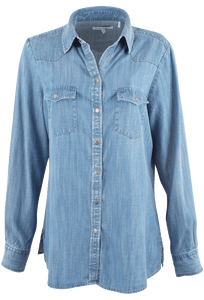Foxcroft Solid Tencel Long Sleeve Blouse - Front